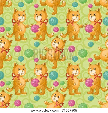 Seamless background, cats playing with balls of wool yarn. Eps10, contains transparencies. Vector poster