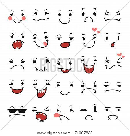 Doodle Facial Expressions Set For Humor Design