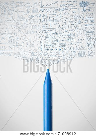 Coloured crayon close-up with sketchy diagrams
