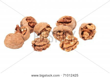 Bunch of cracked walnuts.