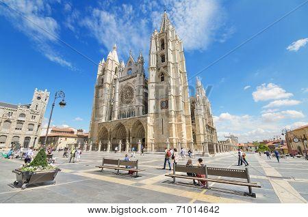 Tourist visiting famous landmark Leon Cathedral Castilla y Leon Spain on August 22 2014