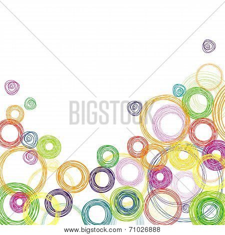 Abstract square background with colored circles