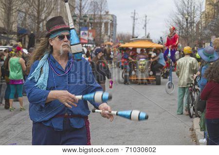 Mardi Gras Juggler And Parade