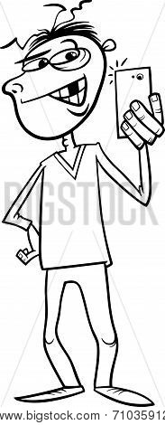 Black and White Cartoon Illustration of Young Battered Guy Doing Photo by Phone for Social Media poster