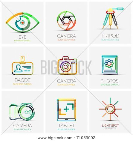 Vector collection of 9 company logos, business concepts. Human eye shutter tripod badge name tag camera photo gallery tablet screen flash light spot
