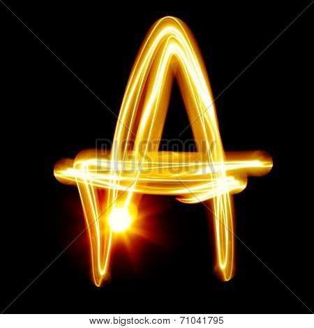 A - Created by light alphabet over black background