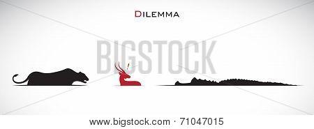 Vector image of an tiger deer crocodiles. Dilemma poster