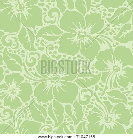Tropical Hawaiian hibiscus floral seamless pattern . poster