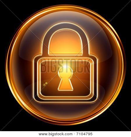 Lock Icon Gold, Isolated On Black Background
