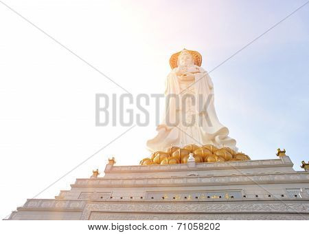 goddess of mercy statue at seaside in nanshan temple, hainan island ,nanshan temple is a famous tourist destination in sanya,hainan province,china. poster