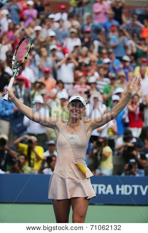 Professional tennis player Caroline Wozniacki celebrates victory after third round match at US Open