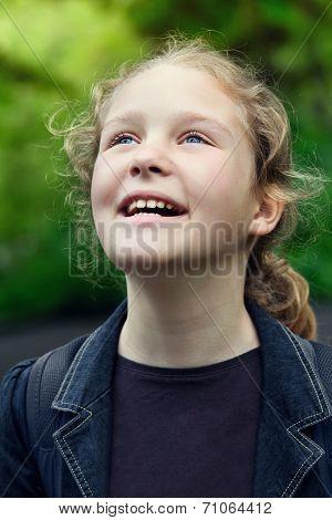 Happy Beautiful Little Girl Outdoors
