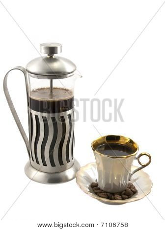French Press With Cup Of Coffee