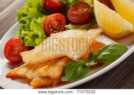 Fish dish - fried fish fillet, with vegetables