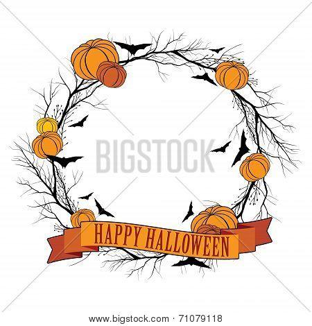 Vector Halloween wreath 1