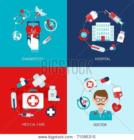Medical icons flat set