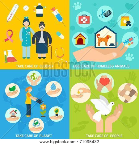 Charity social help services and volunteer work icons set flat isolated vector illustration poster