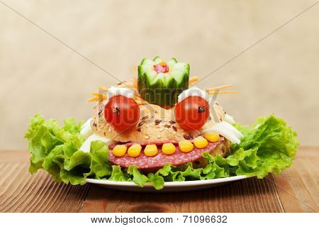 Creative fresh and healthy food - the frog king sandwich