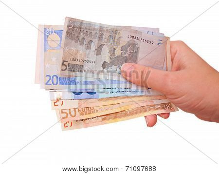 Hand Holding Euro Bills, Isolated In White