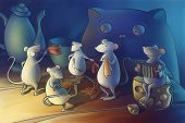 mice dancing in the kitchen. cat watching poster