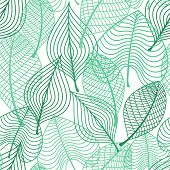 Summer or spring foliage green tree leaves seamless pattern suitable for wallpaper, tiles and fabric design poster