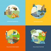 Global effects of environmental thermal and chemical emanating pollution flat icons composition set abstract isolated vector illustration poster