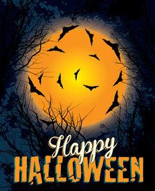 Halloween night background illustration text
