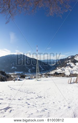 Winter Landscape Broadcasting Tower Mitterberg View To Radenthein