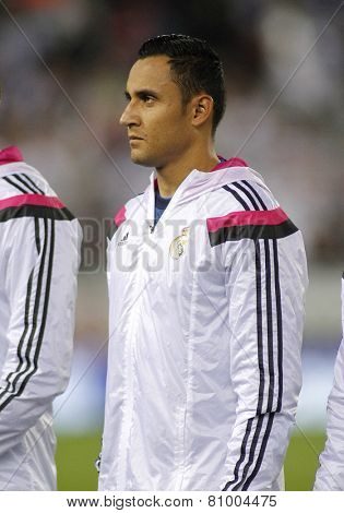BARCELONA - MAY,11: Keylor Navas of Real Madrid during the Spanish Kings Cup match against UE Cornella at the Estadi Cornella on May 11, 2014 in Barcelona, Spain