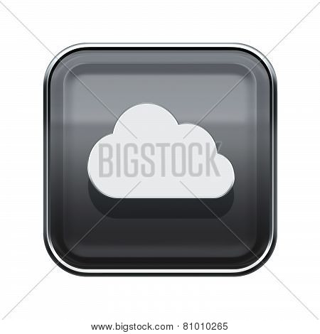 Cloud Icon Glossy Grey, Isolated On White Background