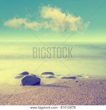 Minimalist misty landscape of the sea Crimea poster