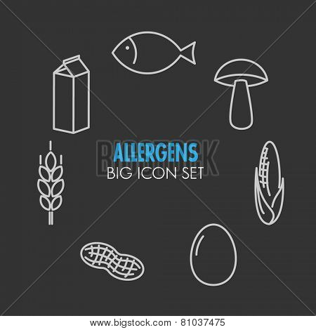 Vector icons set for allergens (milk, fish, egg, gluten, wheat, nut, lactose, corn, mushroom) on dark background