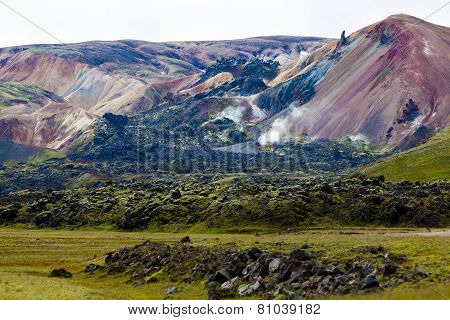 Brennisteinsalda mountain is one of the most beautiful and multicolored volcanos in the area of Landmannalaugar poster