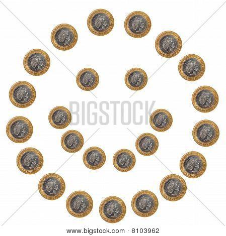 Coins smiley face