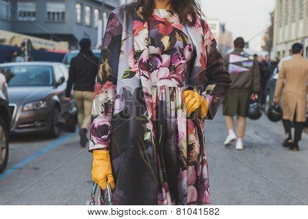 Detail Of A Woman Outside Dirk Bikkembergs Fashion Show Building For Milan Men's Fashion Week 2015