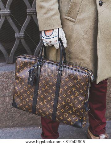 Detail Of A Bag Outside Cavalli Fashion Show Building For Milan Men's Fashion Week 2015