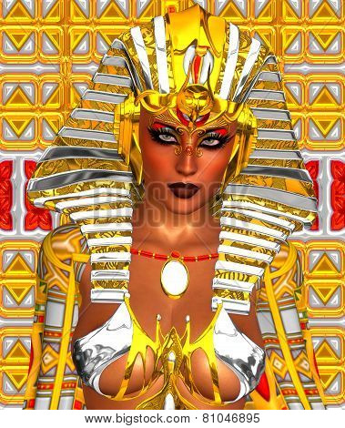 Cleopatra in gold and white, modern digital art style.