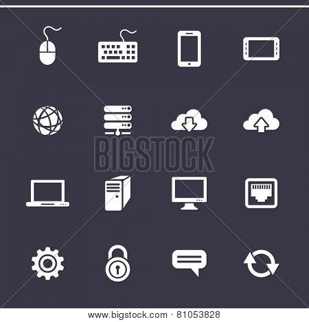 Network and mobile devices. Network connections. Vector icons