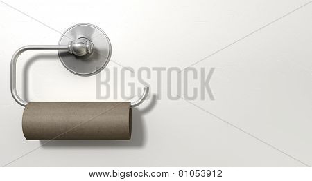 An emptied roll of toilet paper hanging on a chrome toilet roll holder on an isolated white textured background poster