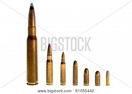 Different Caliber Bullets, On A White Background