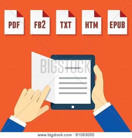 Hands Holding Electronic Book (e-book) Reader With Different Formats
