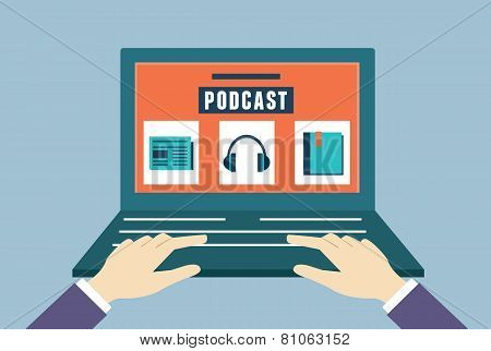 Vector Flat Concept Of Audio Podcast. Subscription As Business Model