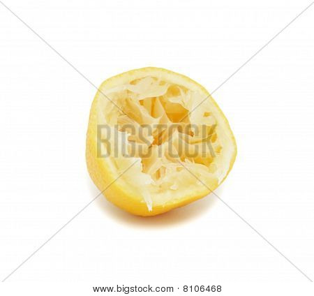 Half Of Aged And Juicy Lemon, Isolated
