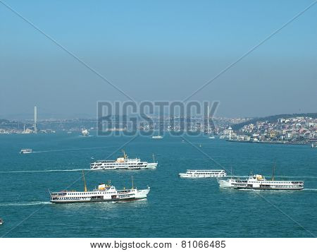 Meeting of ships in the Golden Horn in Istanbul