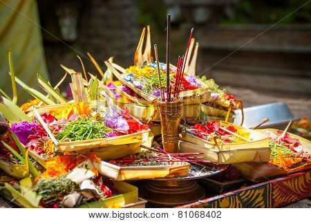 Hindu Offerings At The Temple In Bali, Indonesia