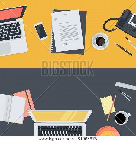 Set of flat design illustration concepts for online education, staff training