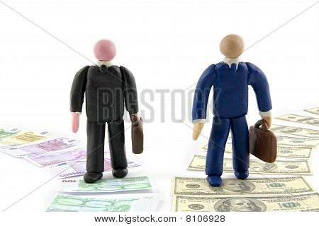 Two Businessman Figures Walking Together, On Money Paths.
