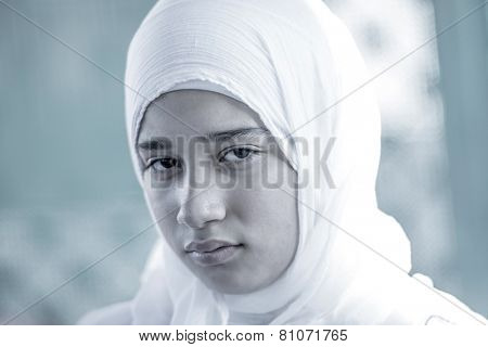 Arabic Muslim Middle Eastern girl wearing white
