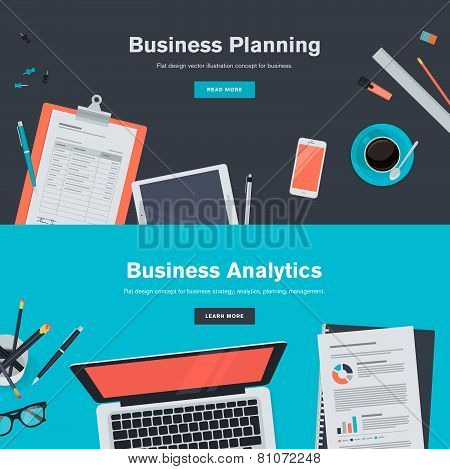 Set of flat design illustration concepts for business planning and analytics