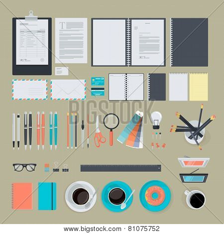 Set of flat design items for business